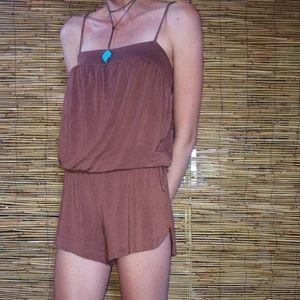 Tart Short Brown Romper - Beachwear